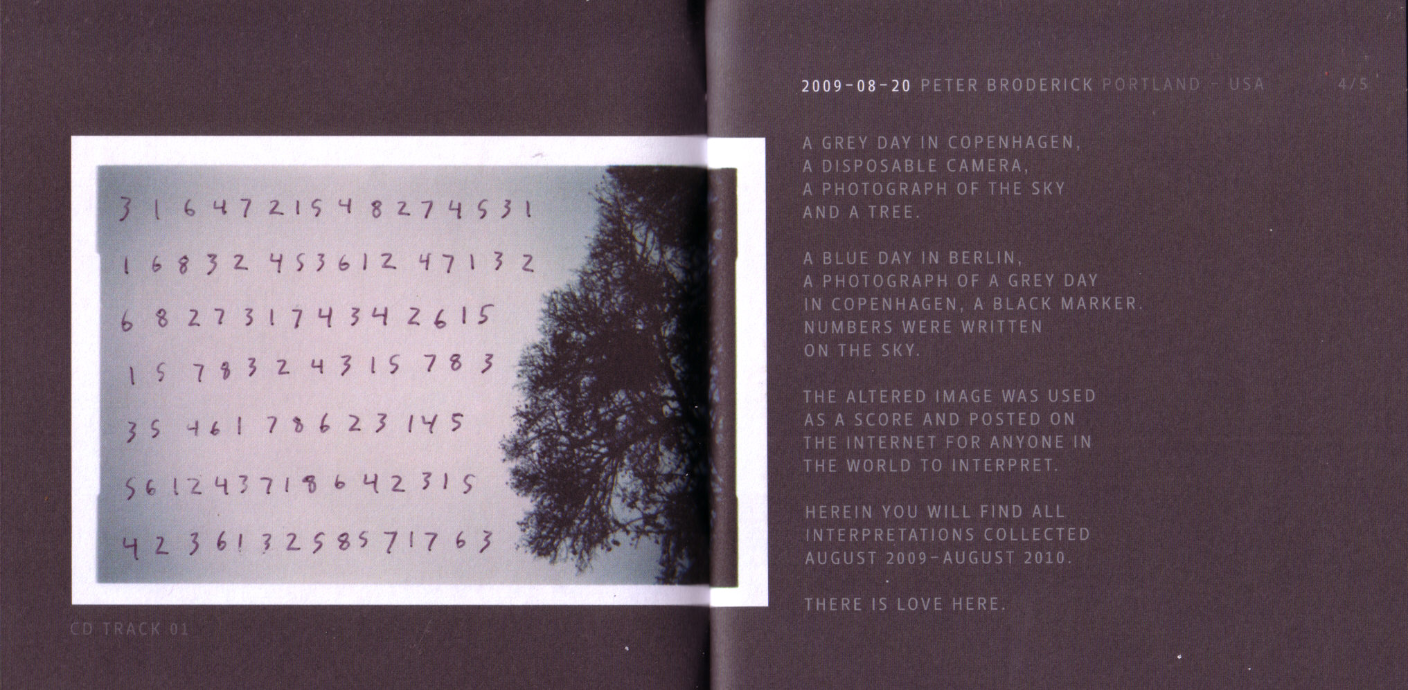 Numbers is a project by Peter Broderick